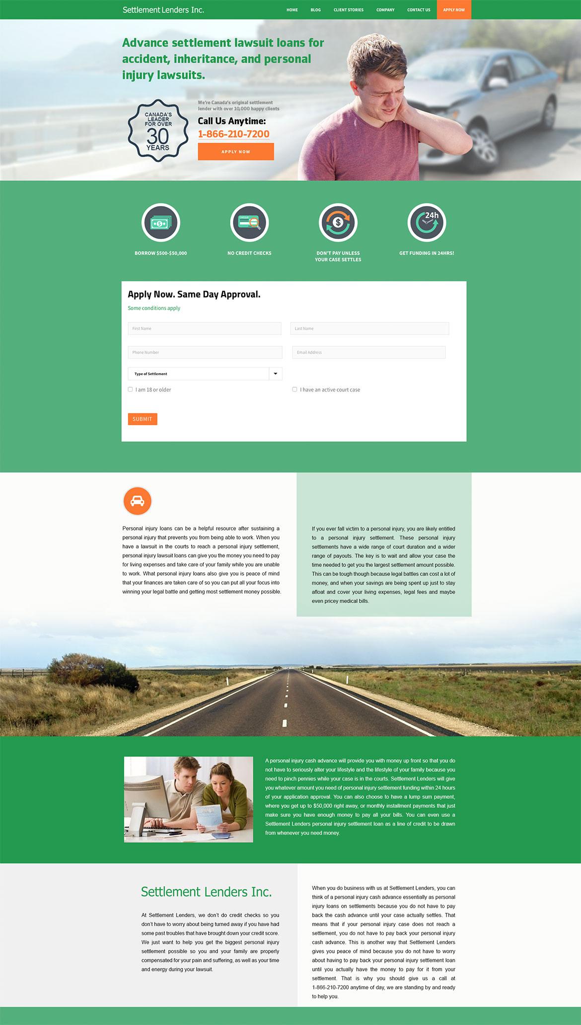 Settlement Lenders - Landing Page Design