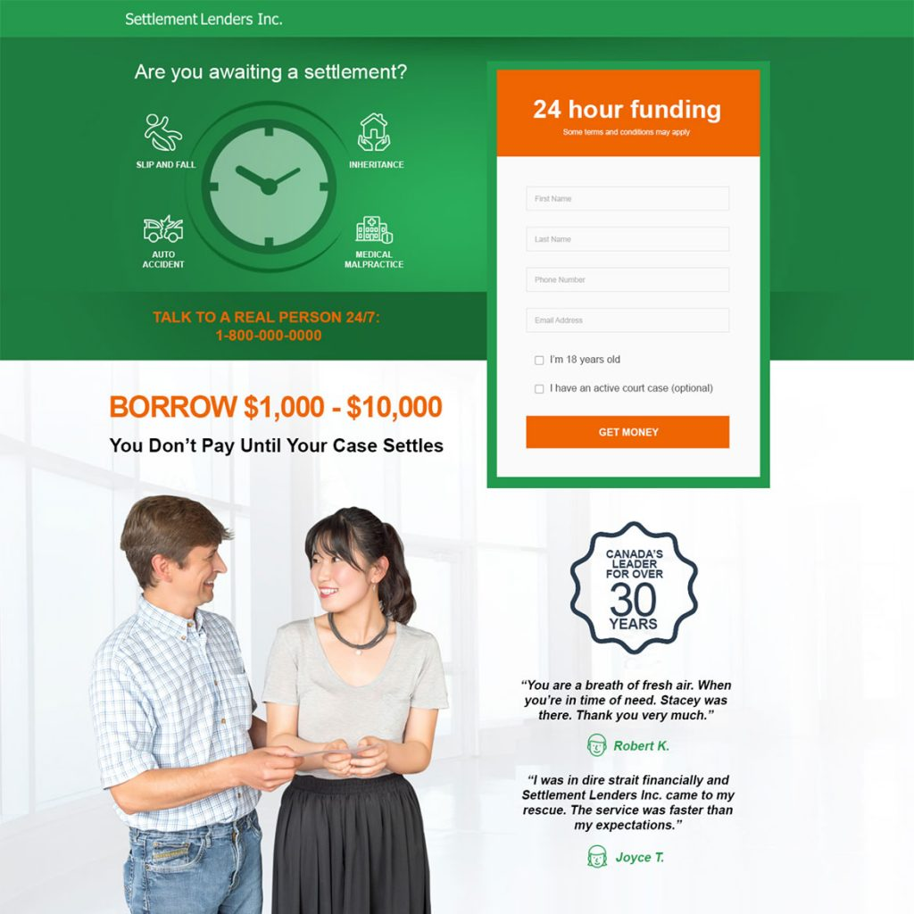 Settlement Lenders - Website design