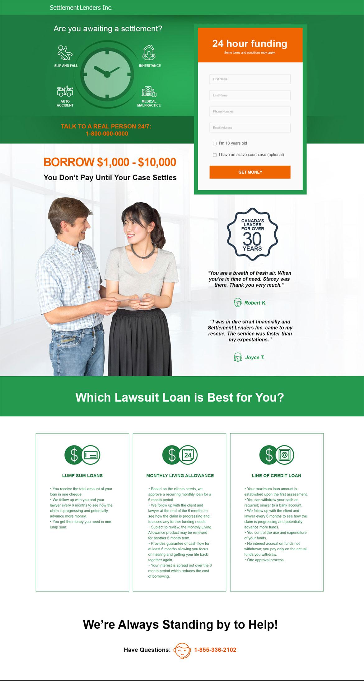 Settlement Lenders - Website design