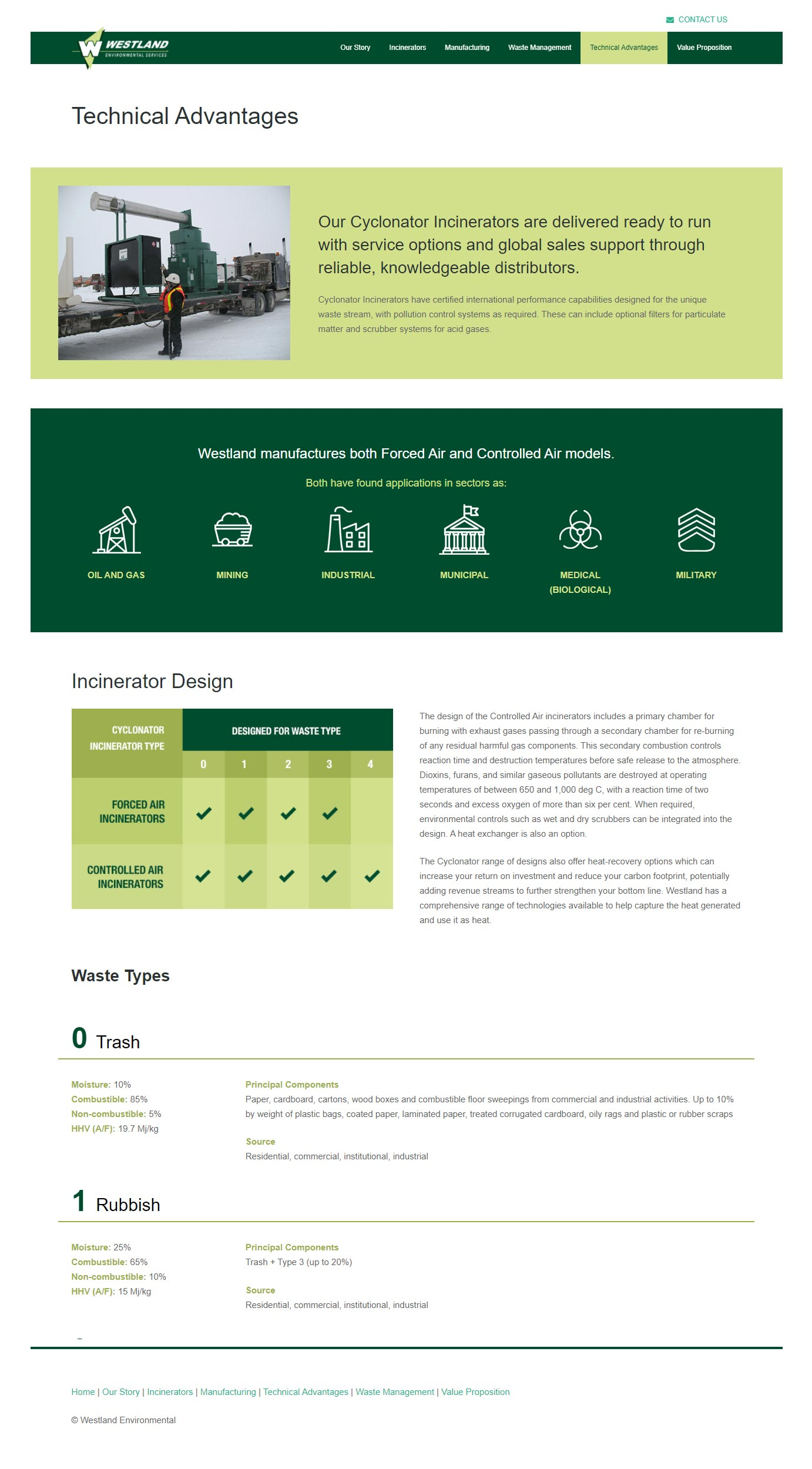 Westland Website - Technical Advantages