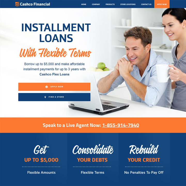 Cashco Financial - Installment Loans - Landing Page Design in Edmonton