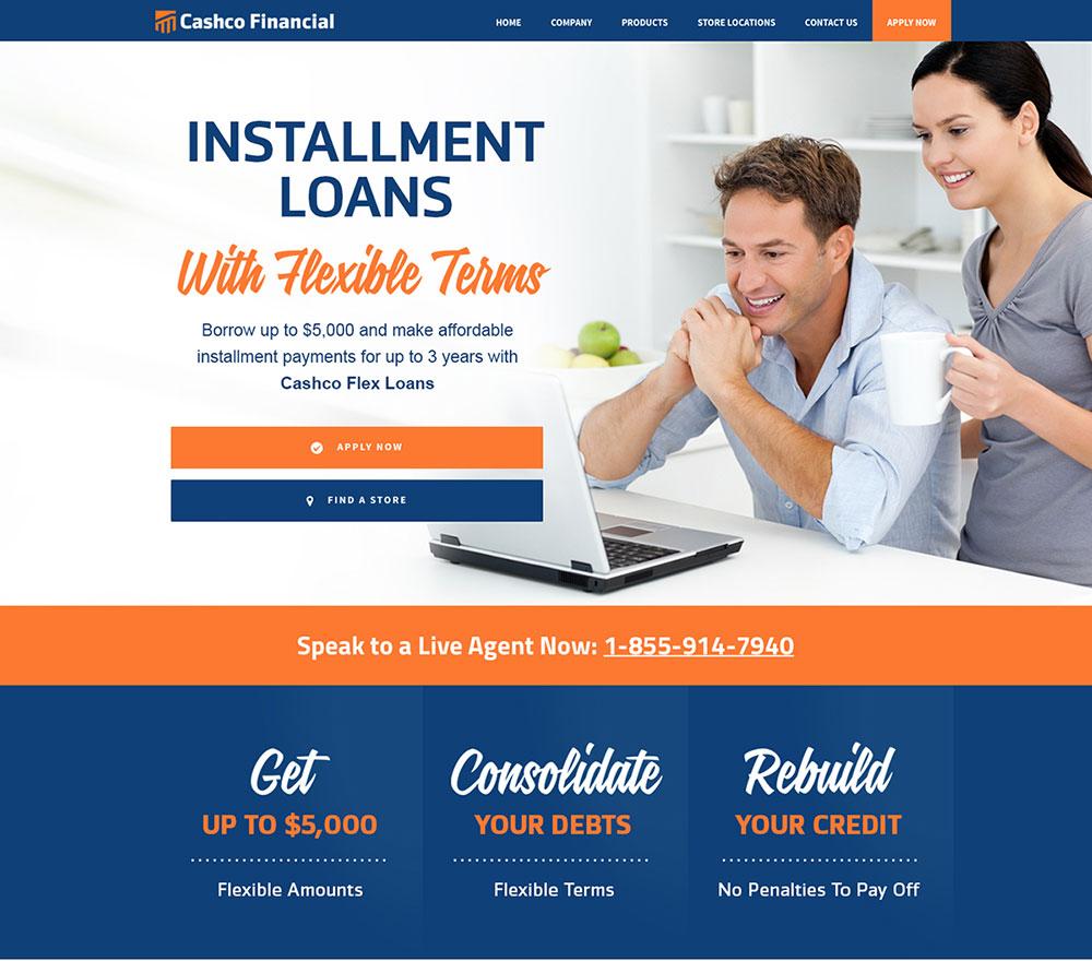 Cashco Financial - Installment Loans - Landing Page Design in Edmonton